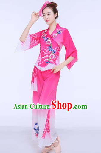 Chinese Traditional Folk Dance Group Dance Rosy Clothing Yangko Fan Dance Costume for Women