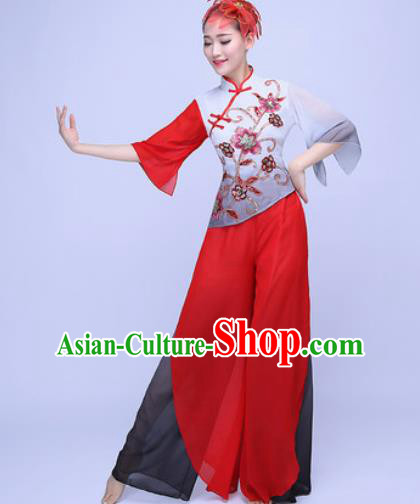 Traditional Chinese Folk Dance Red Clothing Yangko Dance Costume for Women