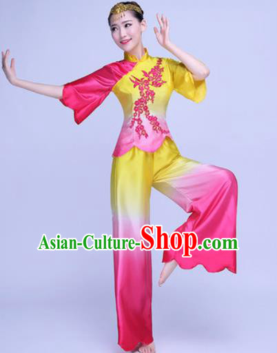 Traditional Chinese Folk Dance Rosy Silk Clothing Yangko Dance Costume for Women