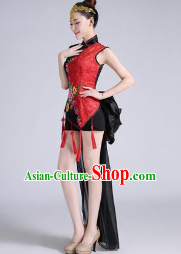 Traditional Chinese Folk Dance Drum Dance Black Clothing Yangko Dance Costume for Women