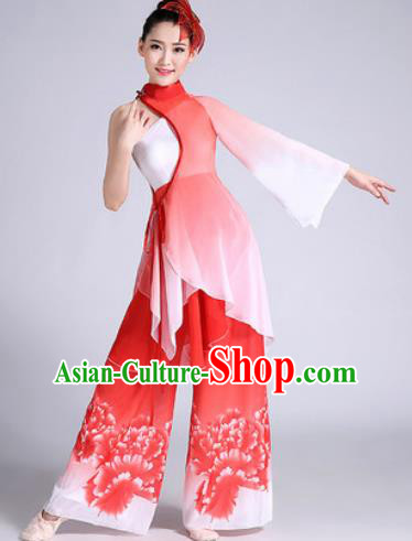 Chinese Traditional Classical Dance Fan Dance Red Dress Umbrella Dance Stage Performance Costume for Women