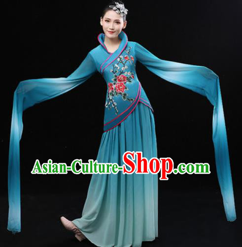 Chinese Traditional Classical Lotus Dance Deep Green Dress Umbrella Dance Stage Performance Costume for Women