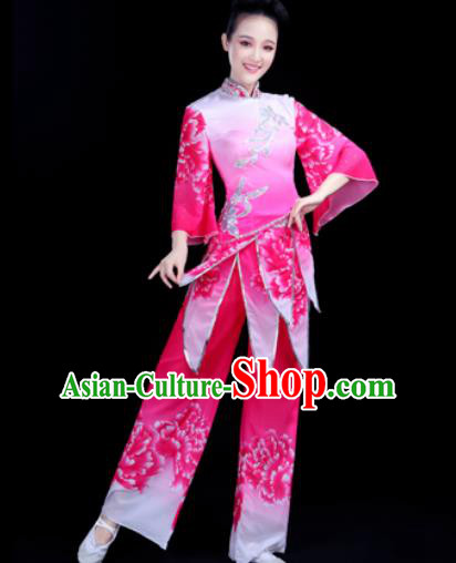Traditional Chinese Spring Festival Folk Dance Rosy Clothing Yangko Dance Fan Dance Costume for Women