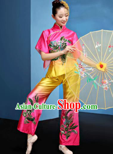 Traditional Chinese Folk Dance Fan Dance Clothing Yangko Dance Rosy Costume for Women