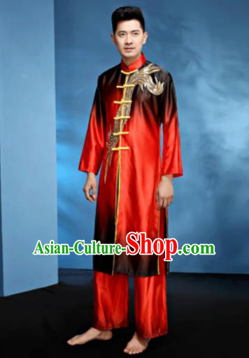 Traditional Chinese Folk Dance Stage Show Clothing Drum Dance Red Costume for Men