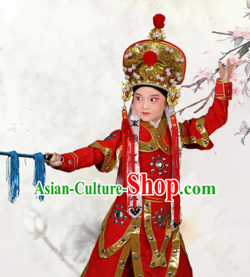 Chinese Traditional Peking Opera Takefu Red Clothing Classical Beijing Opera Costume for Kids