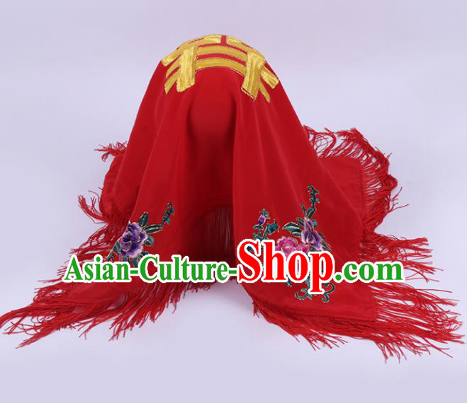 Chinese Traditional Peking Opera Bride Red Head Cover Classical Beijing Opera Headwear for Women