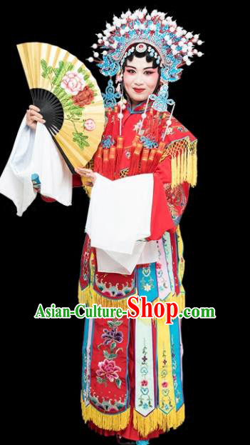 Chinese Traditional Peking Opera Imperial Consort Red Embroidered Dress Classical Beijing Opera Actress Costume for Adults