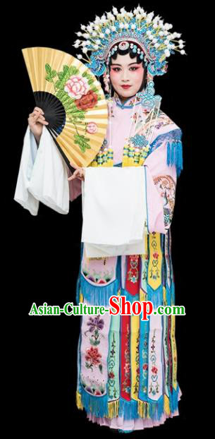 Chinese Traditional Peking Opera Imperial Consort Pink Embroidered Dress Classical Beijing Opera Actress Costume for Adults
