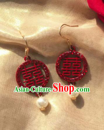 Chinese Traditional Wedding Earrings Classical Bride Red Ear Accessories for Women
