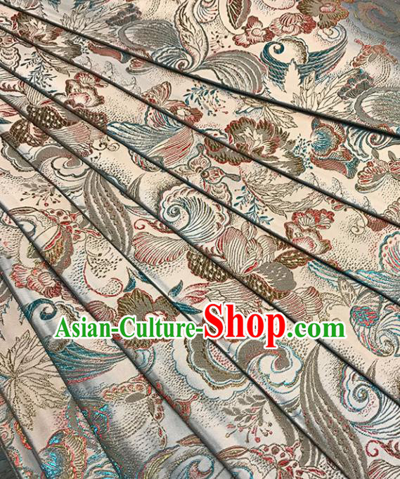 Asian Chinese Royal Peony Butterfly Pattern White Brocade Fabric Traditional Silk Fabric Tang Suit Material
