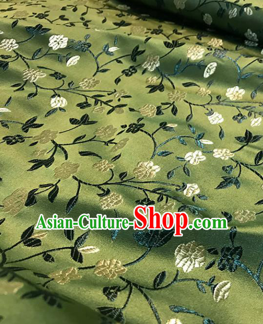 Asian Chinese Royal Wheat Flowers Pattern Green Brocade Fabric Traditional Silk Fabric Tang Suit Material