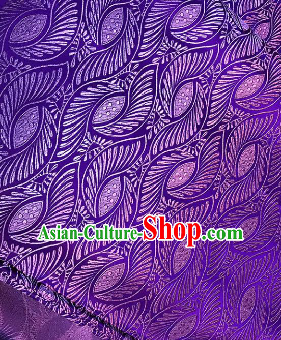Asian Chinese Royal Wings Pattern Purple Brocade Fabric Traditional Silk Fabric Tang Suit Material