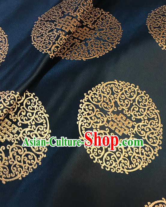 Asian Chinese Royal Lucky Pattern Black Brocade Fabric Traditional Silk Fabric Tang Suit Material