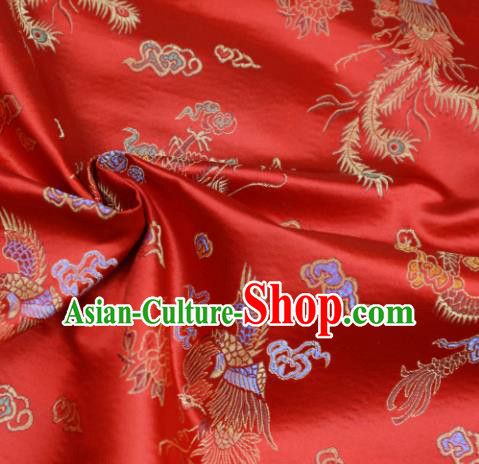 Asian Chinese Royal Phoenix Pattern Red Brocade Fabric Traditional Silk Fabric Tang Suit Material