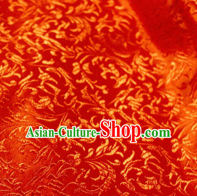 Asian Chinese Royal Feather Flowers Pattern Red Brocade Fabric Traditional Silk Fabric Tang Suit Material