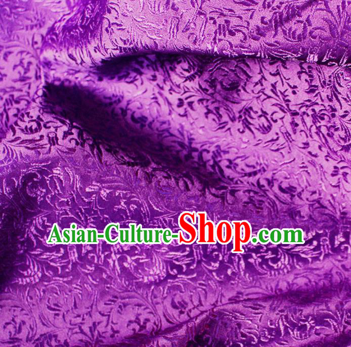 Asian Chinese Royal Feather Flowers Pattern Purple Brocade Fabric Traditional Silk Fabric Tang Suit Material