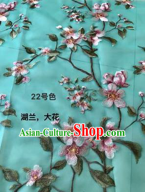 Asian Chinese Embroidered Peach Blossom Pattern Lake Blue Silk Fabric Material Traditional Cheongsam Brocade Fabric