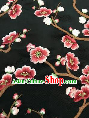 Asian Chinese Suzhou Embroidered Wintersweet Pattern Black Silk Fabric Material Traditional Cheongsam Brocade Fabric