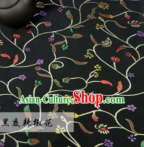 Asian Chinese Royal Pepper Flowers Pattern Black Brocade Fabric Traditional Silk Fabric Tang Suit Material