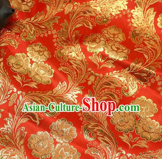 Asian Chinese Royal Golden Peony Pattern Red Brocade Fabric Traditional Silk Fabric Tang Suit Material