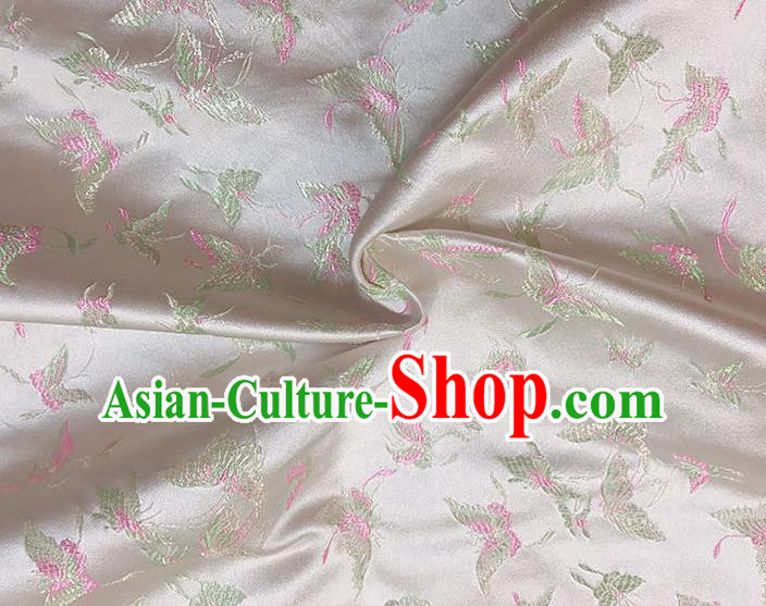 Asian Chinese Royal Embroidery Butterfly Pattern Beige Brocade Fabric Traditional Silk Fabric Kimono Material