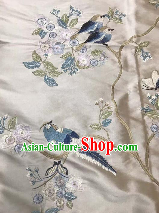 Asian Chinese Royal Embroidered Plum Blossom Pattern Beige Brocade Fabric Traditional Cheongsam Silk Fabric Material