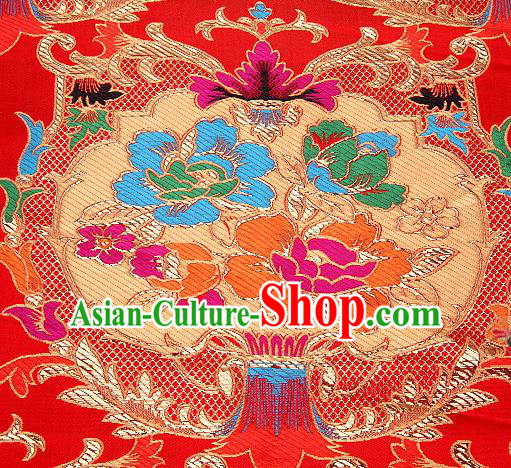 Asian Chinese Traditional Pattern Red Nanjing Brocade Fabric Tang Suit Silk Material
