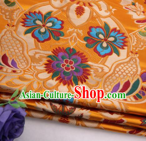 Asian Chinese Traditional Flower Pattern Golden Nanjing Brocade Fabric Tang Suit Silk Material