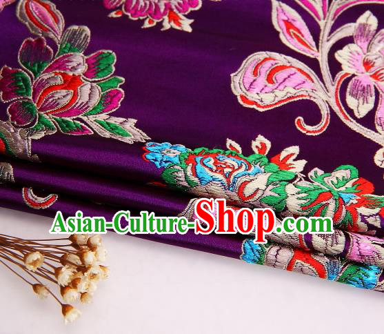 Asian Chinese Traditional Satin Royal Peony Pattern Purple Nanjing Brocade Fabric Tang Suit Silk Material