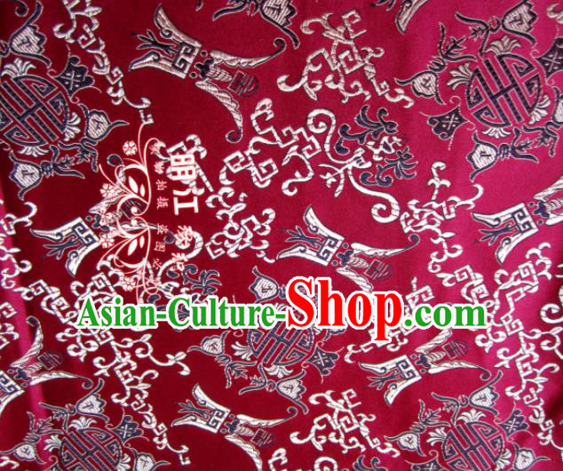 Asian Chinese Traditional Royal Longevity Pattern Wine Red Satin Nanjing Brocade Fabric Tang Suit Silk Material