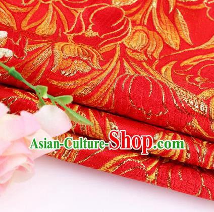 Asian Chinese Traditional Royal Tulip Pattern Red Satin Nanjing Brocade Fabric Tang Suit Silk Material