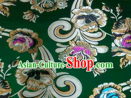 Asian Chinese Traditional Tang Suit Royal Flowers Pattern Green Nanjing Brocade Fabric Silk Fabric Material