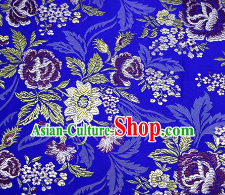 Asian Chinese Traditional Tang Suit Royalblue Nanjing Brocade Fabric Royal Peony Pattern Silk Fabric Material