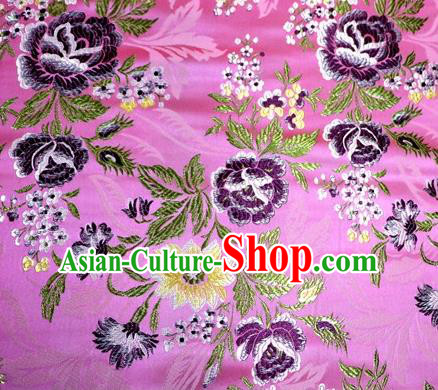 Asian Chinese Traditional Tang Suit Pink Nanjing Brocade Fabric Royal Peony Pattern Silk Fabric Material