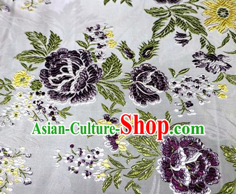 Asian Chinese Traditional Tang Suit White Nanjing Brocade Fabric Royal Peony Pattern Silk Fabric Material