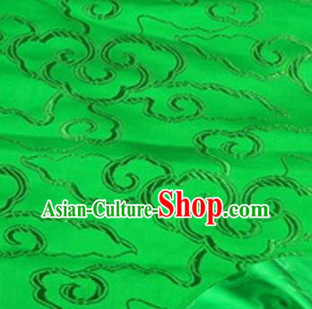 Asian Chinese Traditional Royal Auspicious Clouds Pattern Green Brocade Fabric Tang Suit Silk Fabric Material