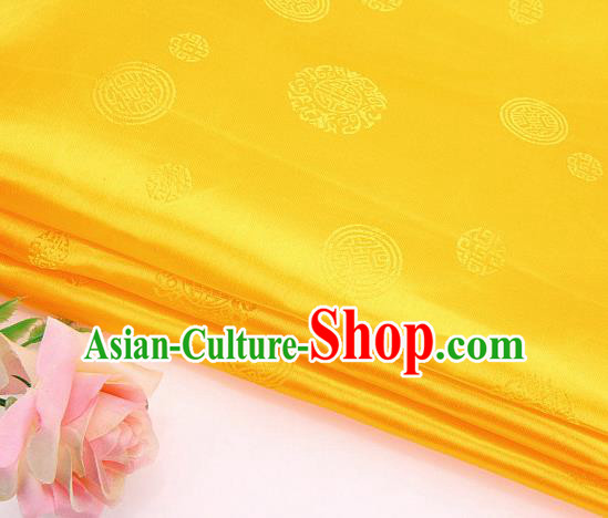 Asian Chinese Traditional Round Pattern Yellow Brocade Fabric Tang Suit Silk Fabric Material