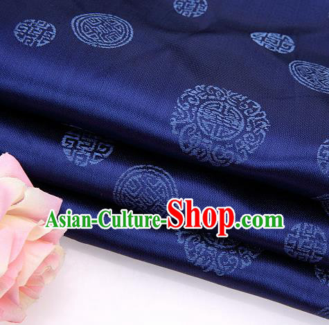 Asian Chinese Traditional Round Pattern Navy Brocade Fabric Tang Suit Silk Material