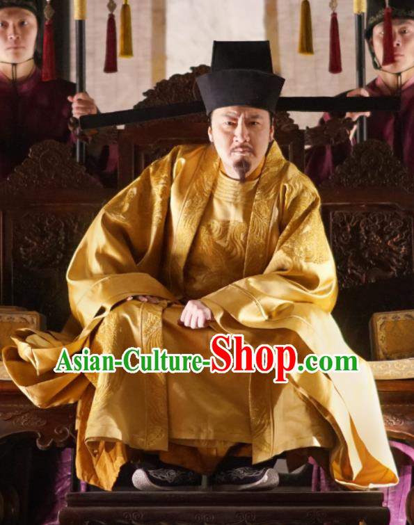 The Story Of MingLan Chinese Ancient Song Dynasty Emperor Embroidered Historical Costume and Hat for Men