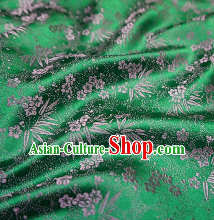 Asian Chinese Traditional Green Brocade Fabric Plum Blossom Bamboo Pattern Tang Suit Silk Material
