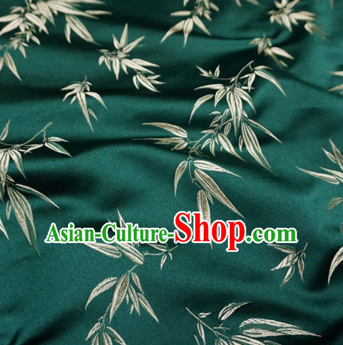 Asian Chinese Traditional Deep Green Brocade Fabric Bamboo Pattern Tang Suit Silk Material