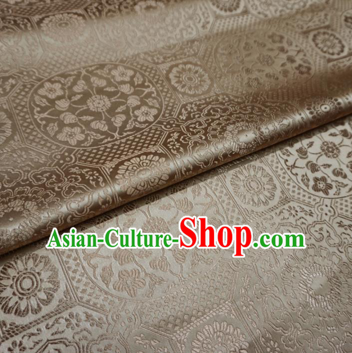 Asian Chinese Traditional Satin Fabric Classical Pattern Golden Brocade Tang Suit Silk Material