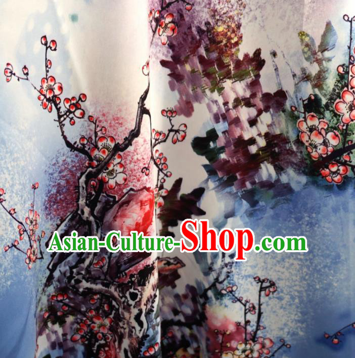 Asian Chinese Painting Plum Blossom Design Pattern Brocade Traditional Cheongsam Satin Fabric Tang Suit Silk Material