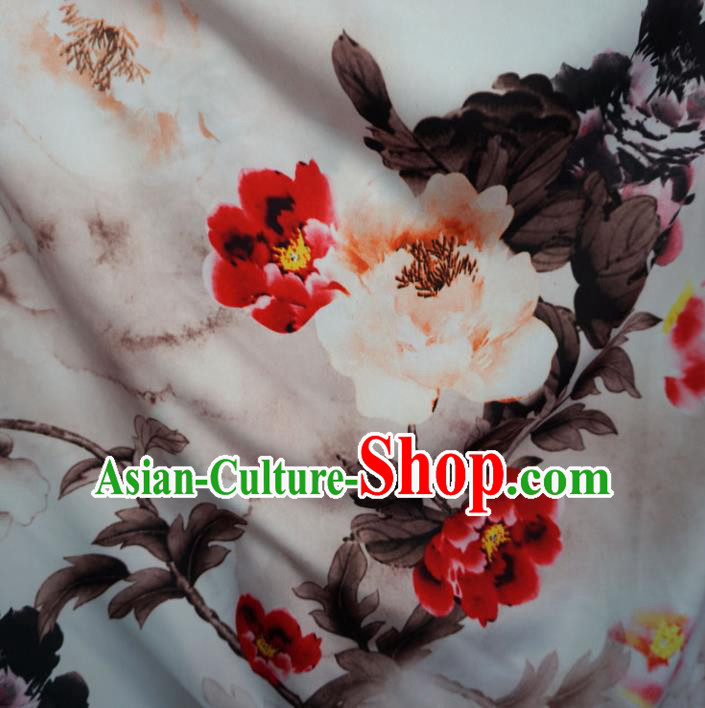 Asian Chinese Printing Peony Design Pattern Brocade Traditional Cheongsam Satin Fabric Tang Suit Silk Material