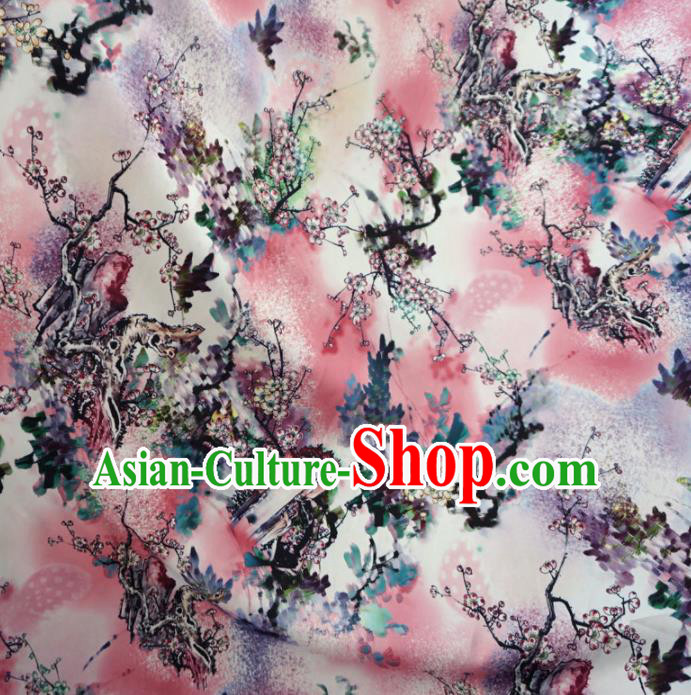 Asian Chinese Ink Painting Plum Blossom Brocade Traditional Cheongsam Satin Fabric Tang Suit Silk Material
