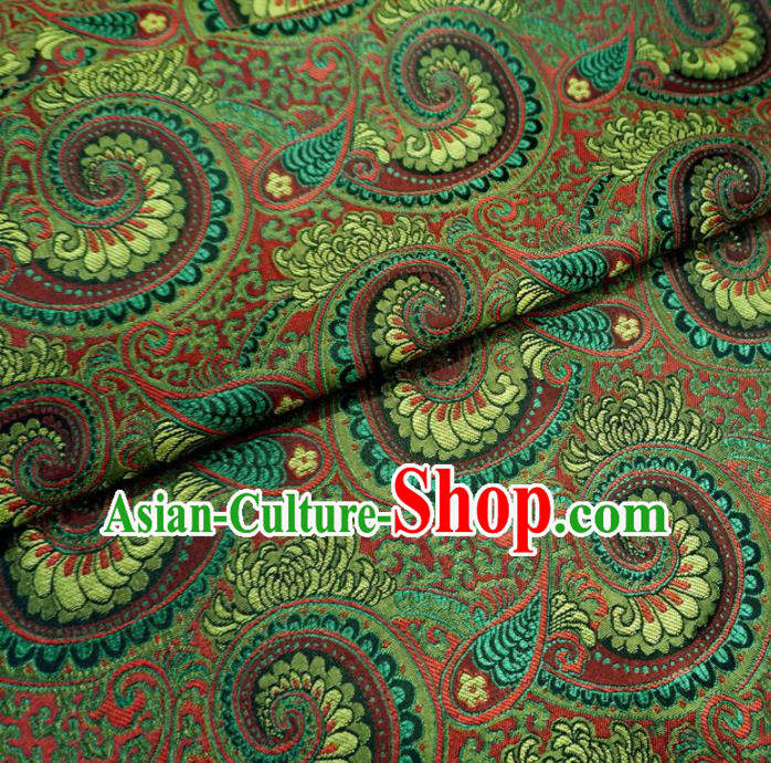 Asian Chinese Classical Conch Design Pattern Green Brocade Traditional Cheongsam Satin Fabric Tang Suit Silk Material