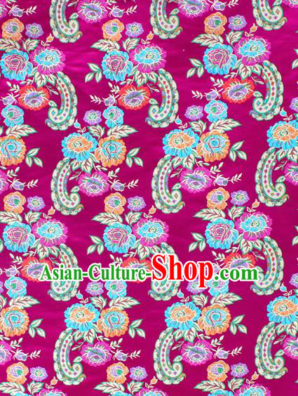 Asian Chinese Classical Flowers Pattern Rosy Nanjing Brocade Traditional Tibetan Robe Satin Fabric Silk Material