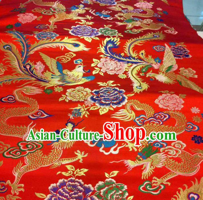 Asian Chinese Classical Dragon Phoenix Peony Pattern Red Brocade Traditional Tibetan Robe Satin Fabric Silk Material
