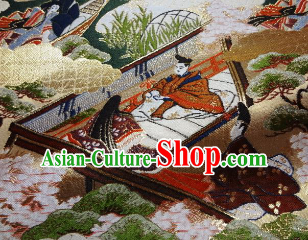 Asian Traditional Classical Genji Palace Pattern Golden Tapestry Satin Nishijin Brocade Fabric Japanese Kimono Silk Material